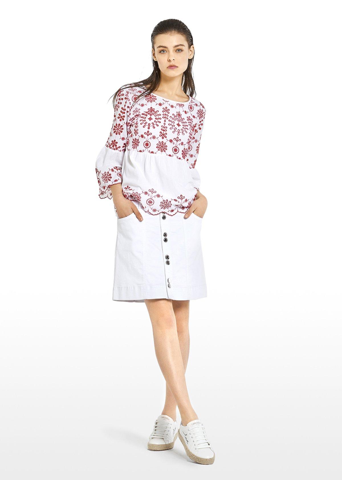Cagy blouse with flounce - White / Tulipano Fantasia - Woman