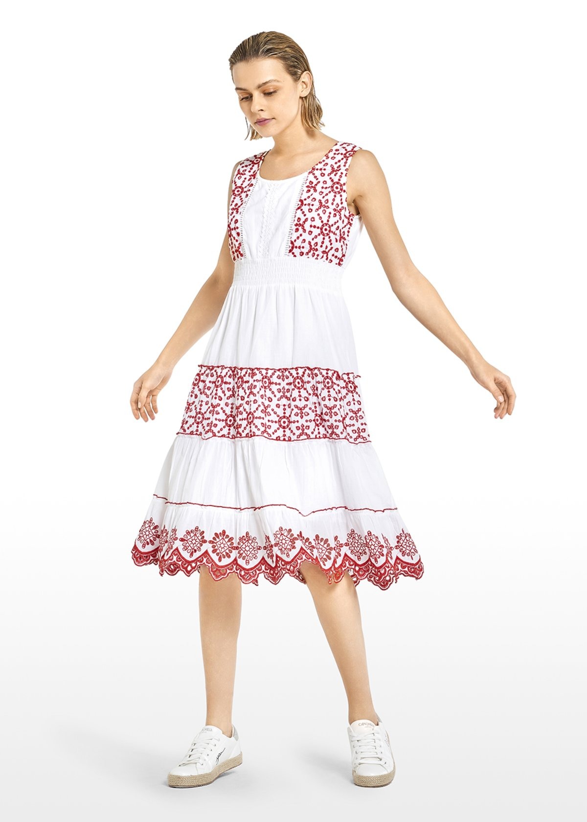 Agy dress with contrasting embroidery - White / Tulipano Fantasia - Woman
