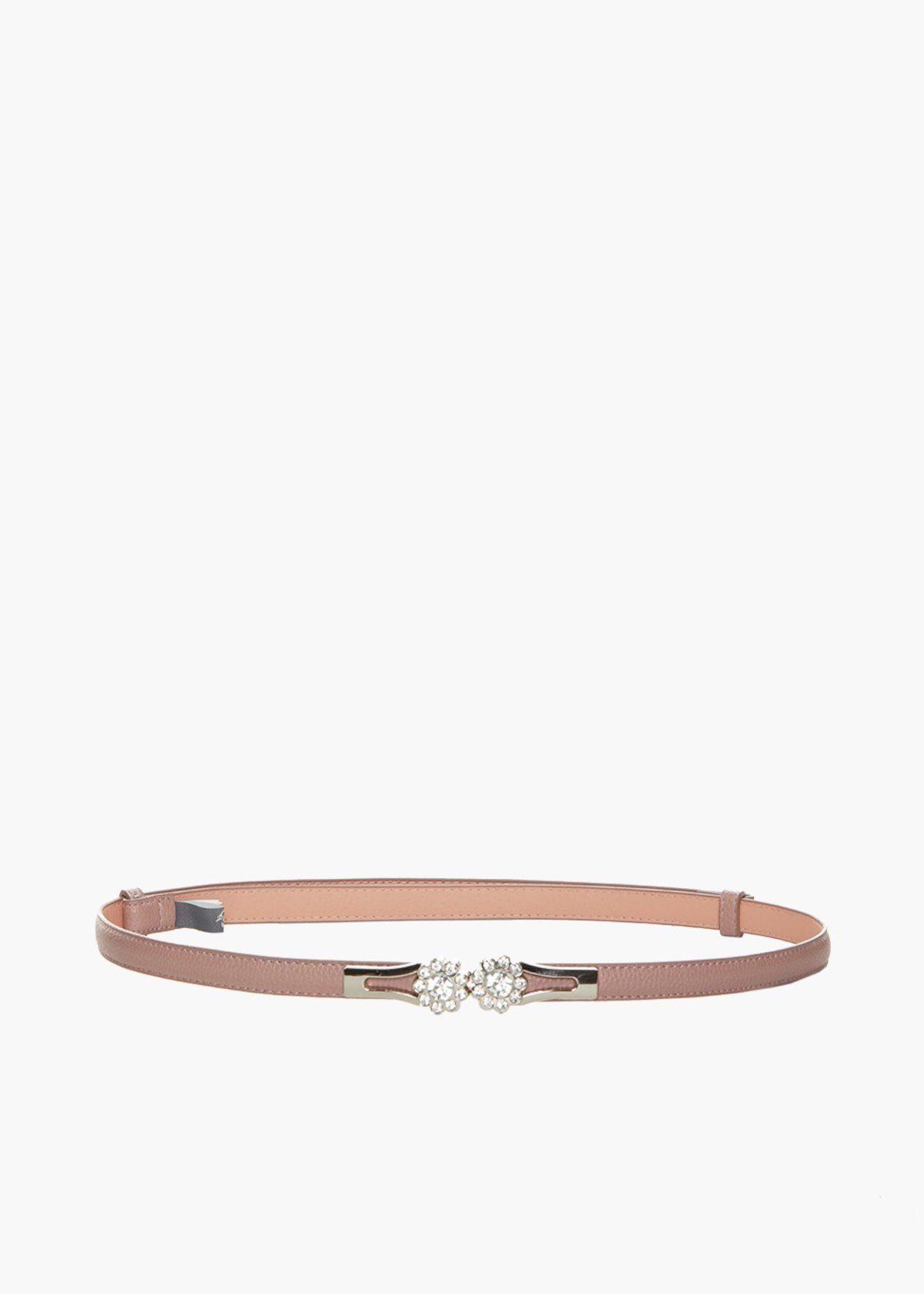 Faux leather Chiore belt deer print and rhinestone flower fastening - Calcite - Woman - Category image