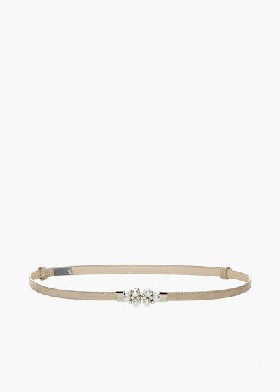 più foto 1ccfa 1765f Cintura Craia in ecosuede con dettaglio perle e crystal