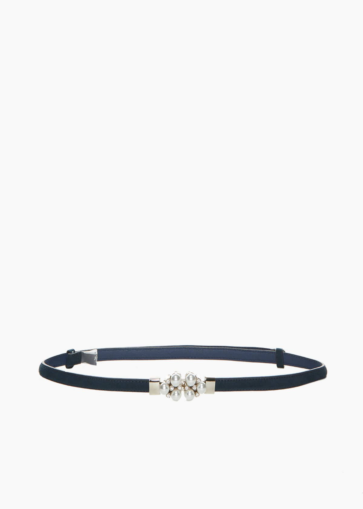 Faux suede Craia belt with pearls and crystal detail - Medium Blue - Woman