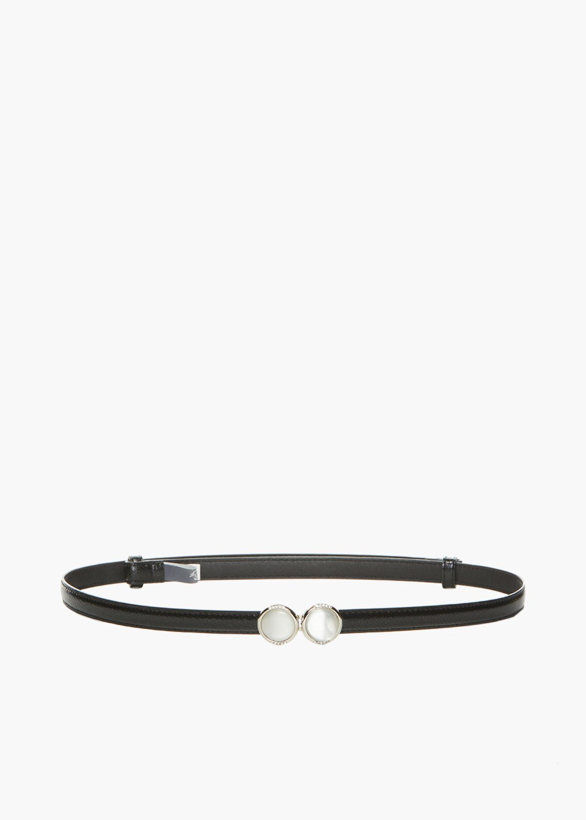 Faux leather Chiacy belt deer print and pearls fastening - Black - Woman - Category image