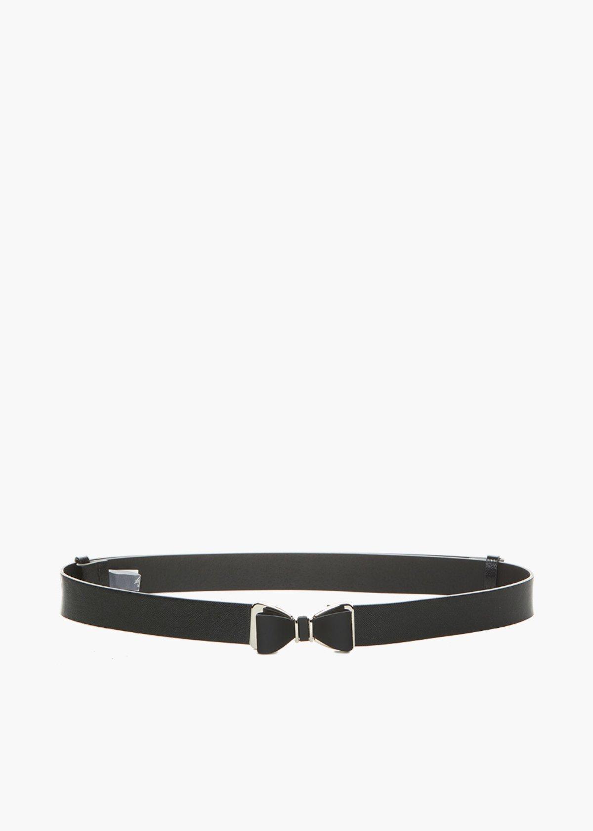 Cintura Cristy in ecopelle saffiano con chiusura fiocco - Black - Donna