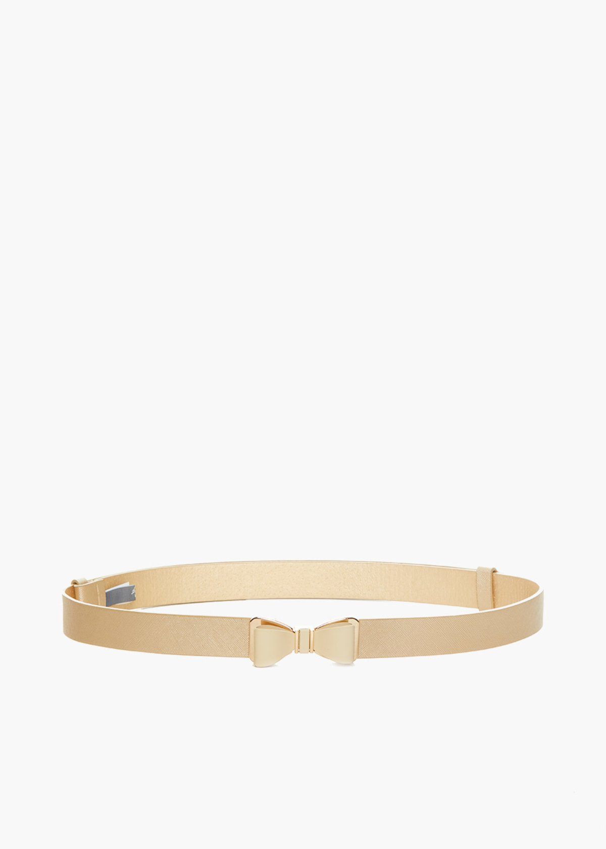 Cristy belt in saffiano faux leather with bow closure - Gold - Woman