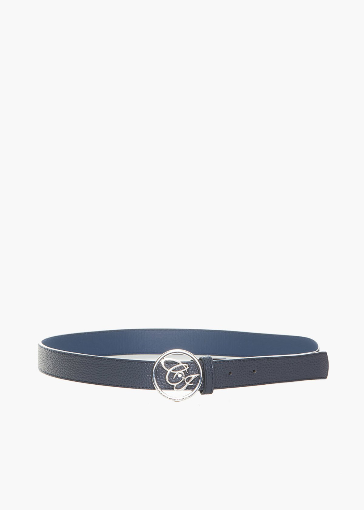 Faux leather Cinty belt deer print and metal logo fastening - Medium Blue - Woman