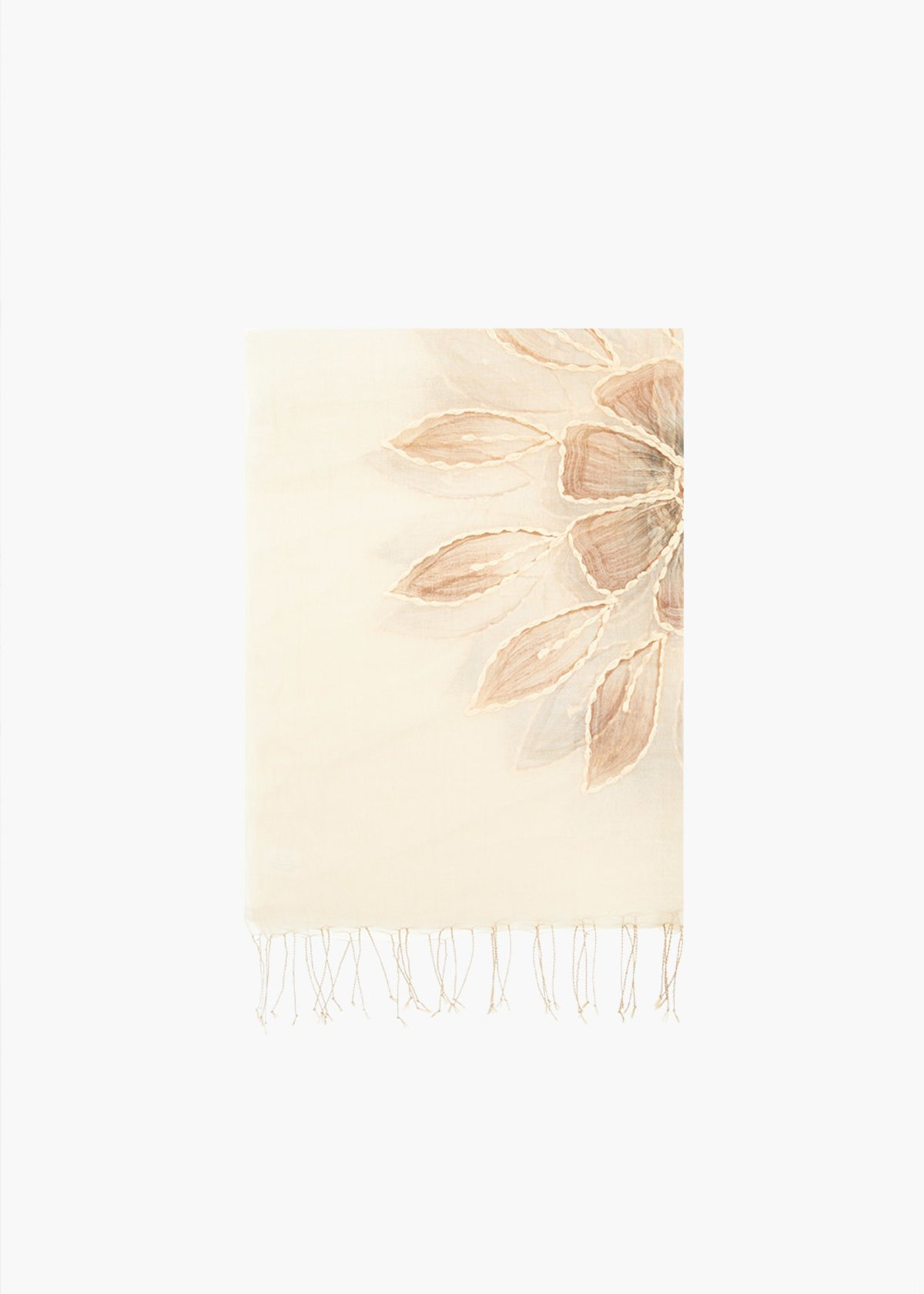 Sfia silk and cotton scarf with flowers and fringes embroidery - Safari / Terra - Woman