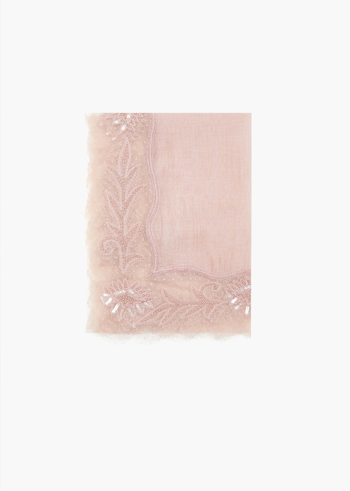 Silk and cotton Sole scarf with flowers patch - Calcite - Woman - Category image