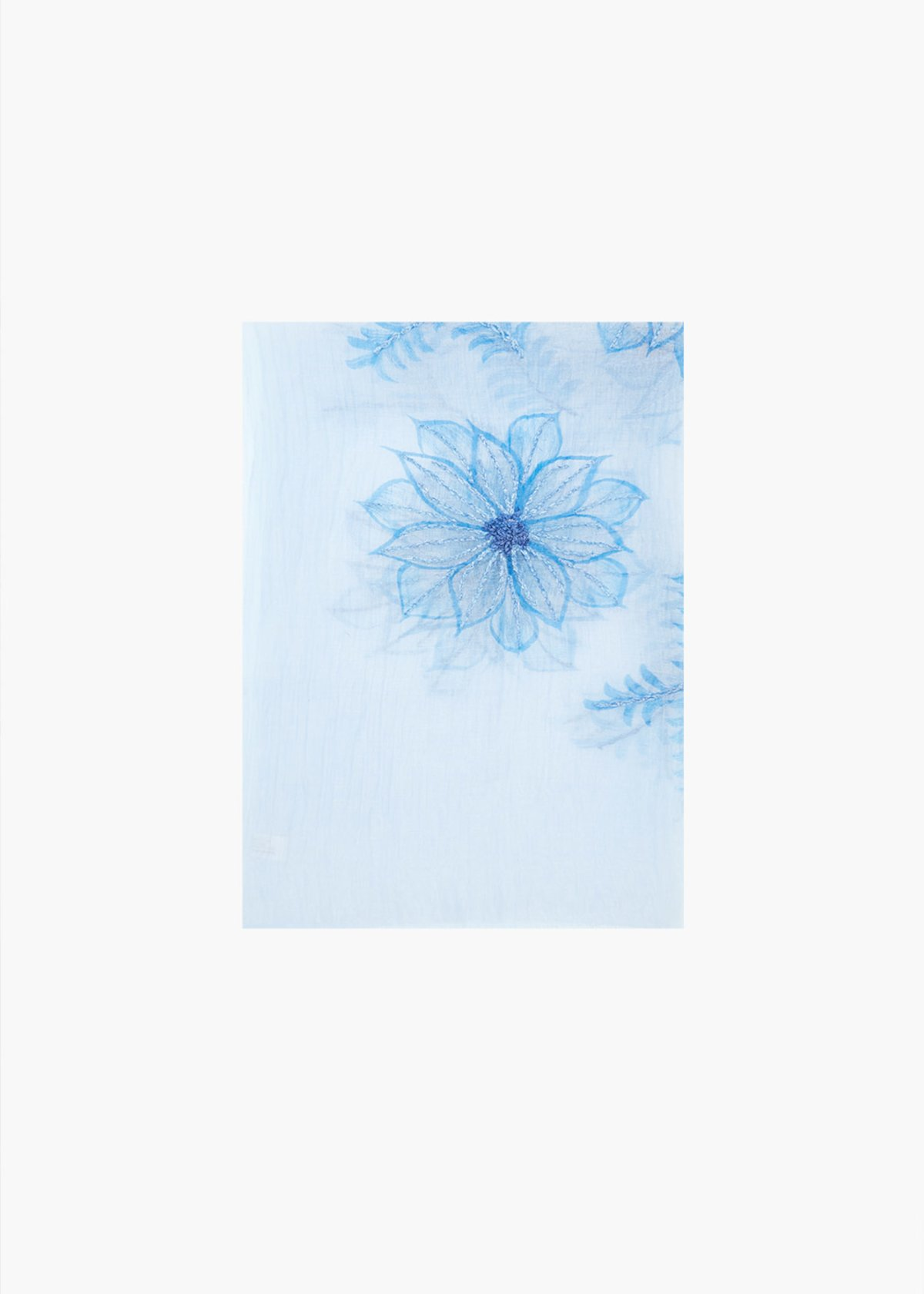 Silk and cotton Sax scarf with flowers embroidery - Avion / Medium Blue - Woman