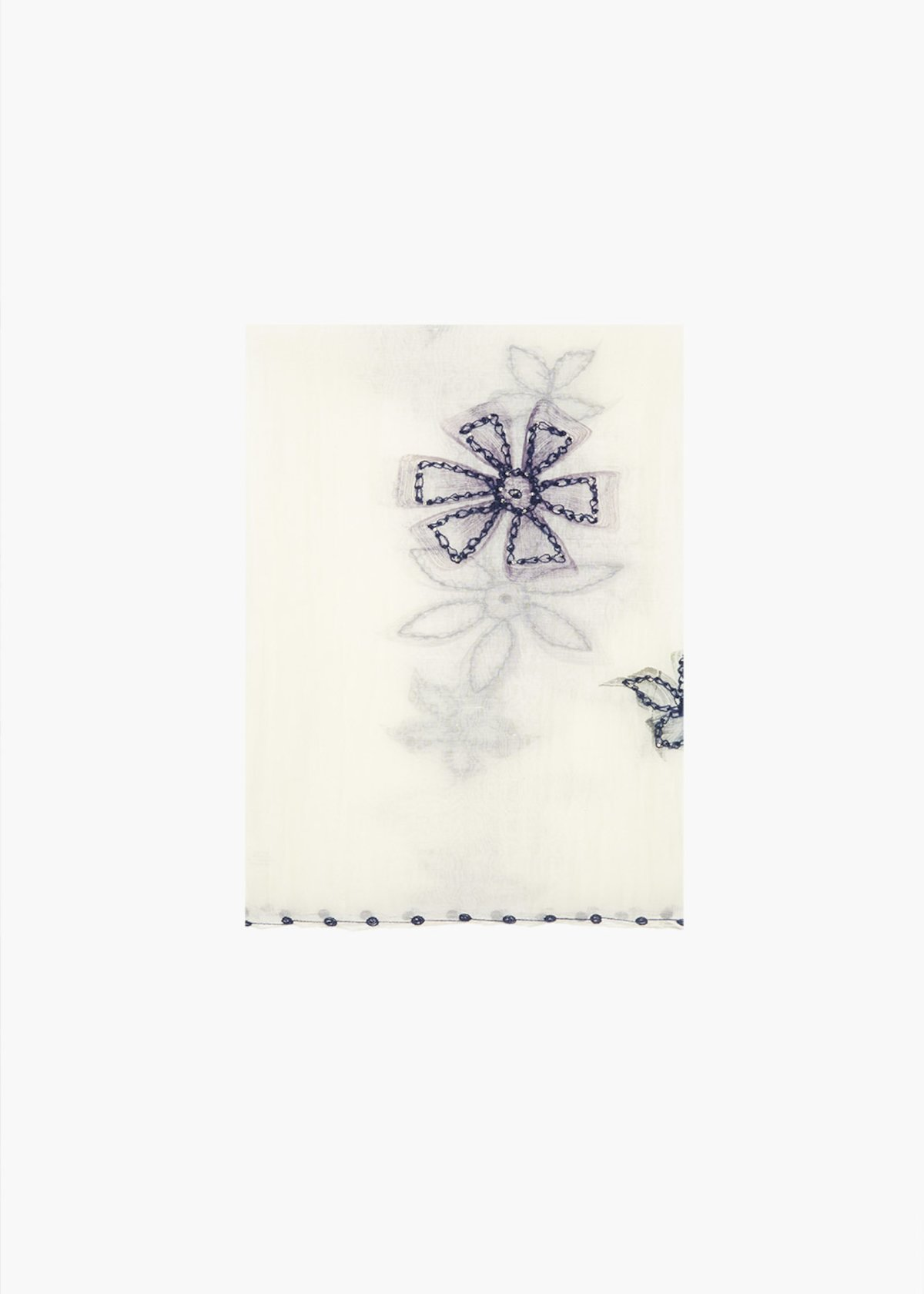 Silk and cotton Swat scarf with flowers embroidery - White  / Medium Blue - Woman