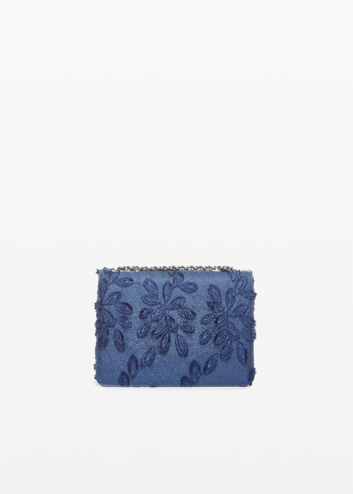 Fede leaf rigid clutch bag with shoulder strap - Dark Blue - Woman