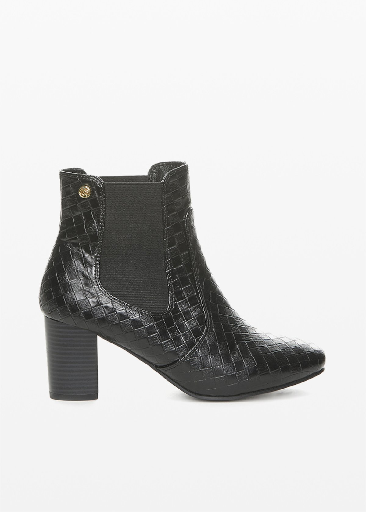 Faux leather ankle boots with elastic inserts - Black - Woman