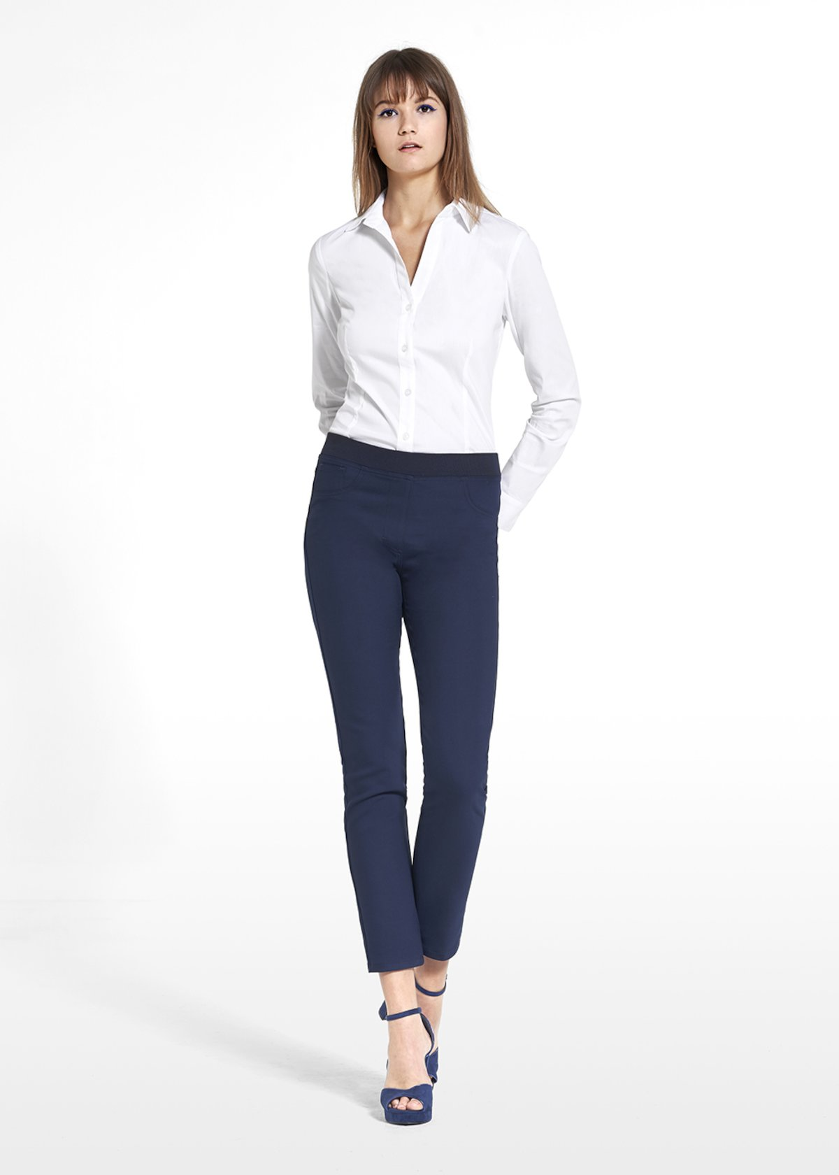 Jeggings Kelly in technical fabric with on tone broguing - Medium Blue - Woman