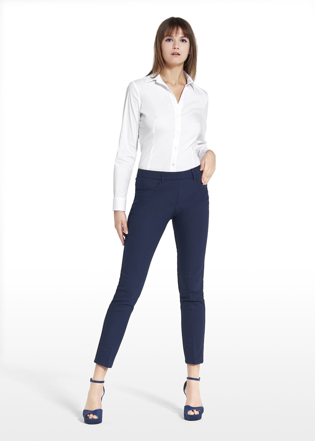 Equestrian pants Scarlett in technical fabric - Medium Blue - Woman