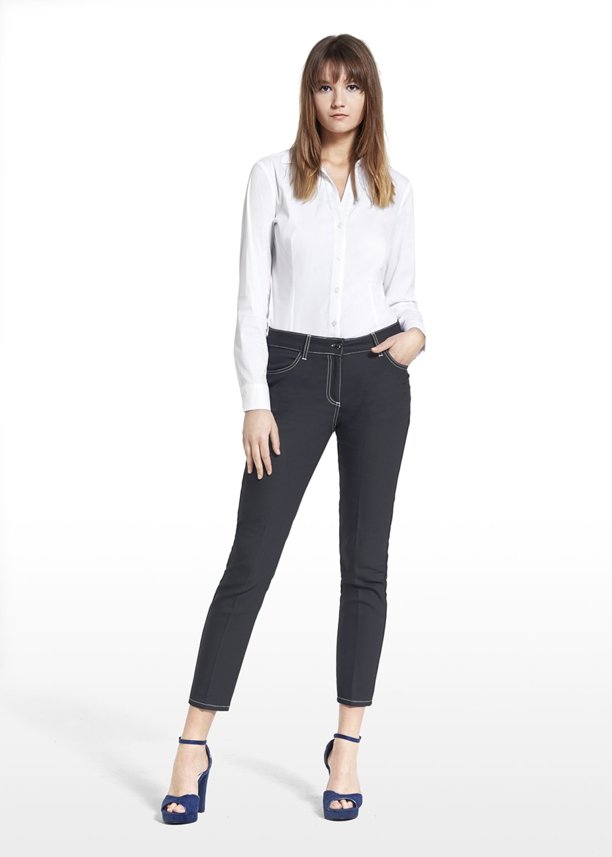5-pocket pants Kate in technical fabric - Black - Woman