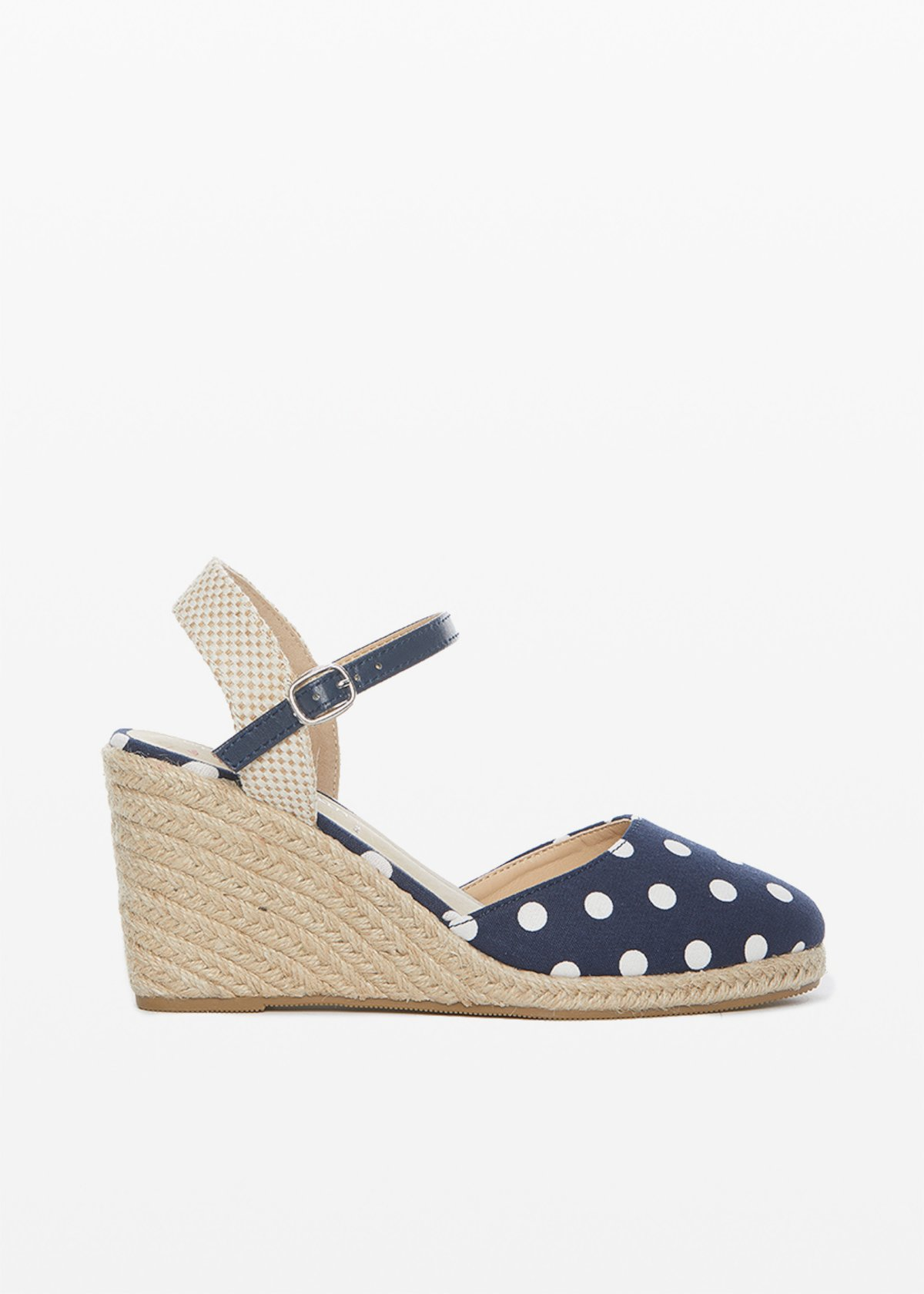 Sirya sandals Polka dot pattern and wedge - Dark Blue Pois - Woman