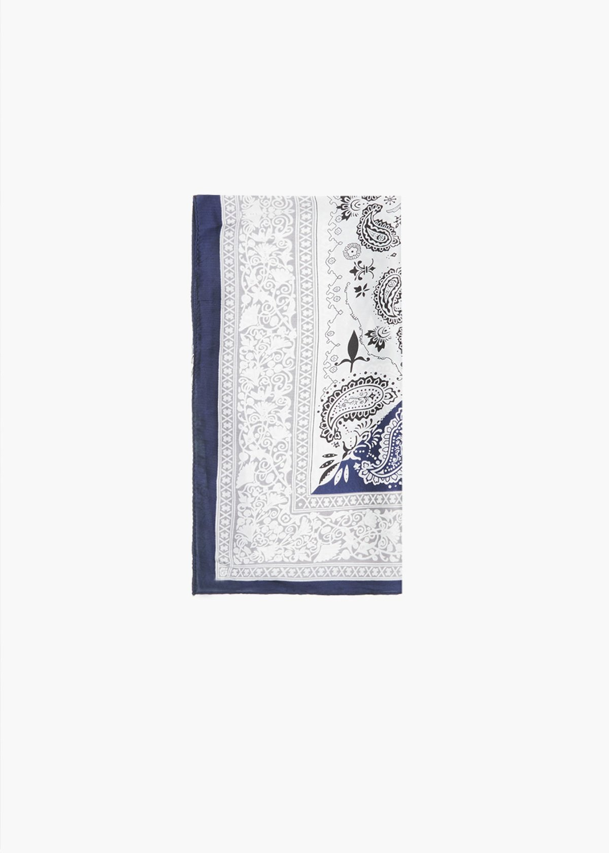 Smana foulard with cashmere print - Night / White Fantasia - Woman