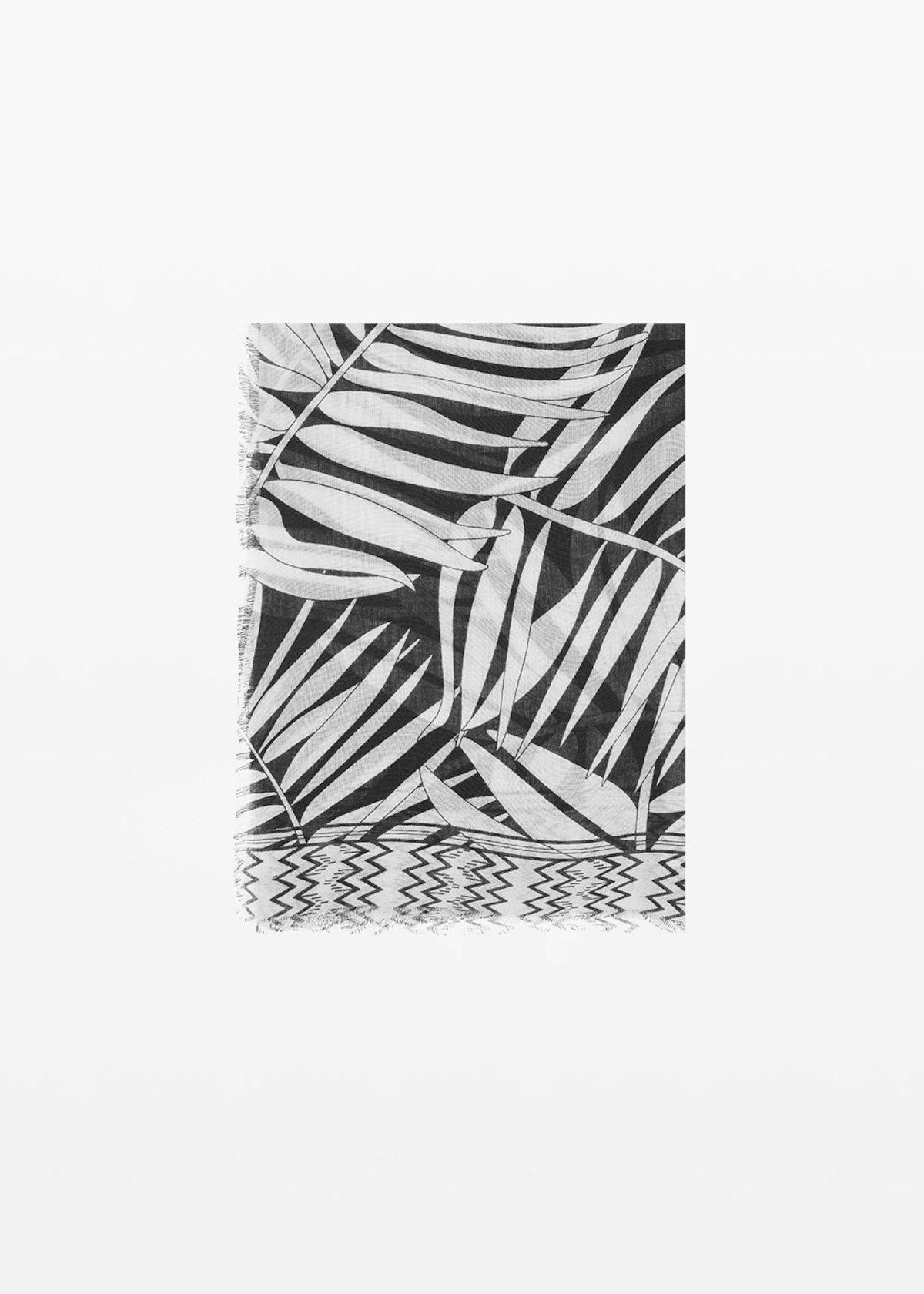 Palm print viscose scarf Soled - Black / White Fantasia - Woman