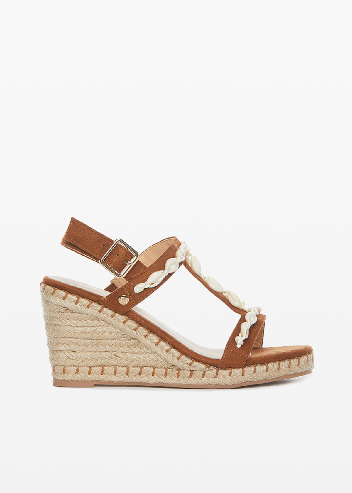 Sciama microfibre and straw wedge sandals - Tobacco - Woman