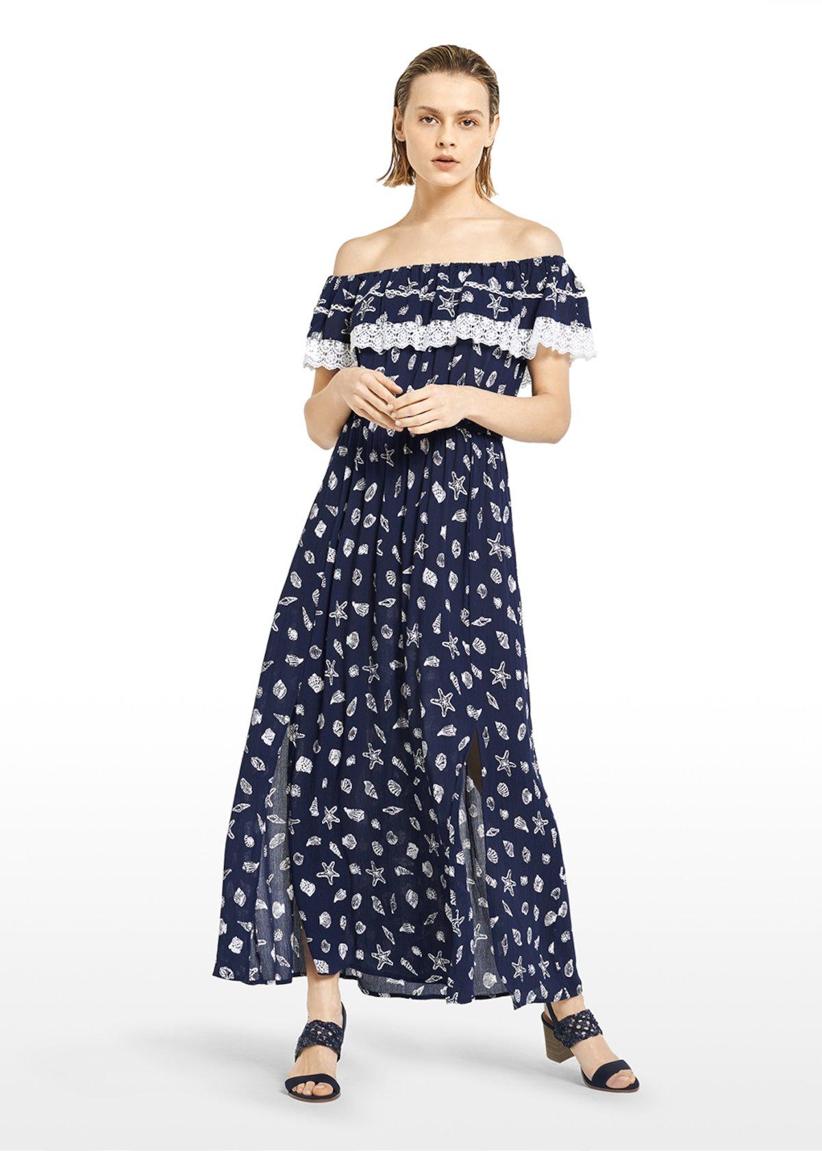 Shell print Alonso dress with elastic waist and flounce
