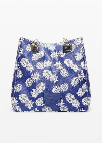 Shopping bag Misspinea con manici in tessuto e catena