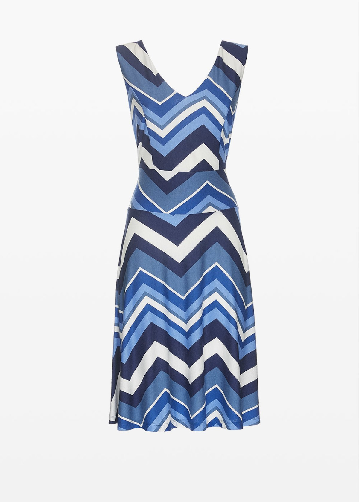 Amor dress all over printed with V neck - Blue / Linen Fantasia - Woman