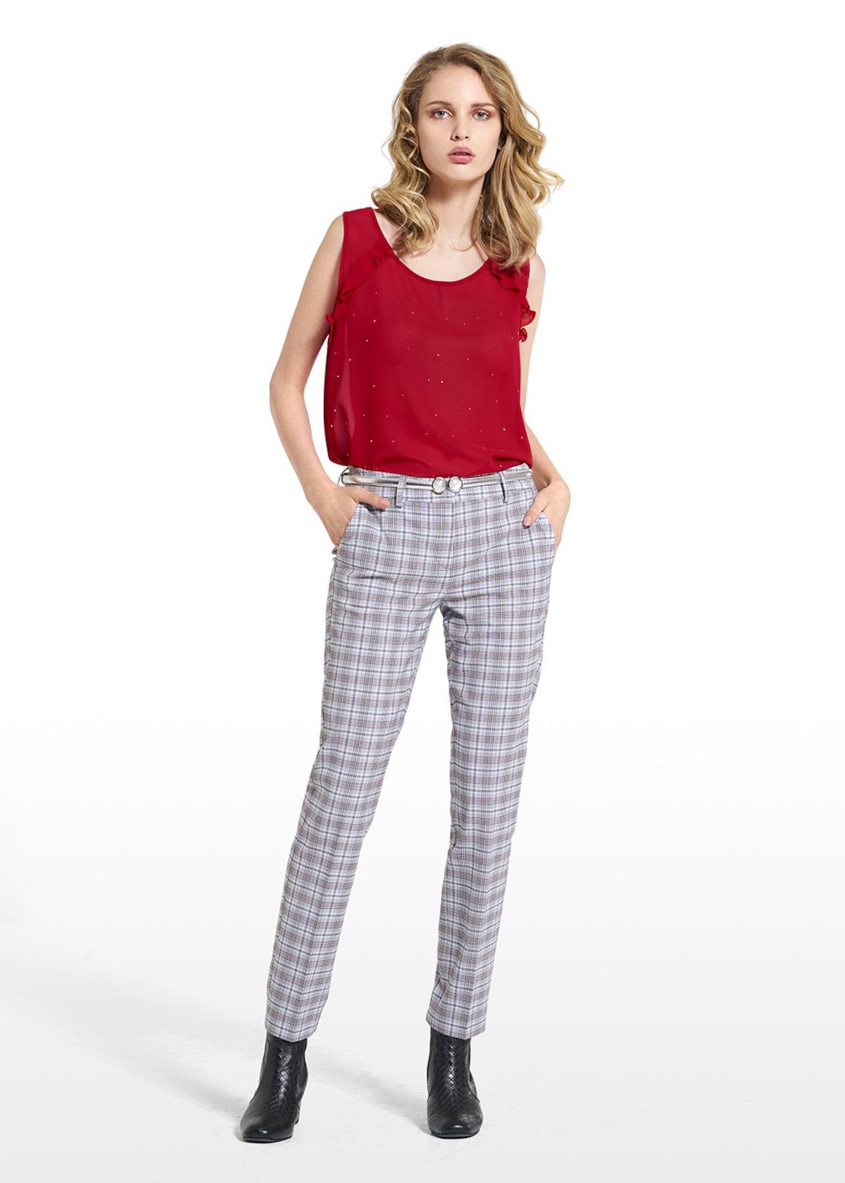 Pantaloni Paride in principe di Galles a gamba slim - Black / White Fantasia - Donna - Immagine categoria