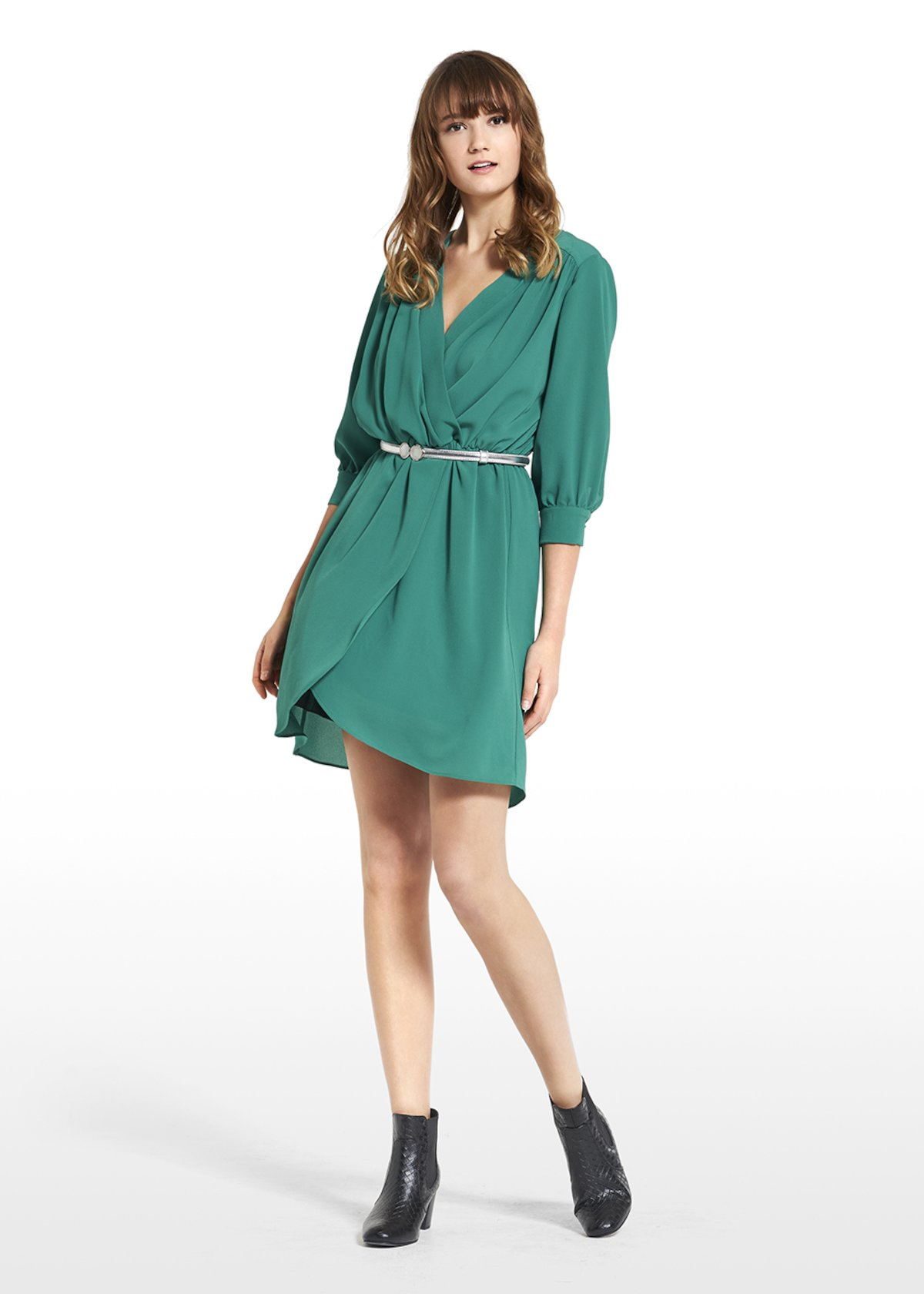 Dress in crêpe Andrea with 7/8 sleeves - Amazon - Woman