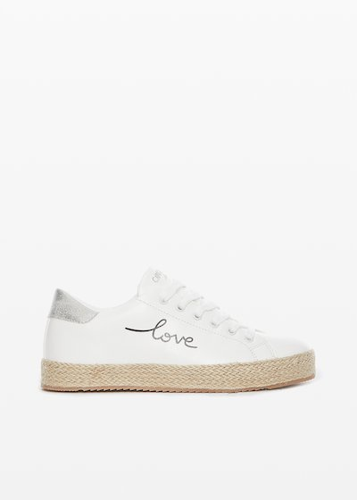 "Plain faux leather Sashi sneakers with ""Love you"" lettering print"