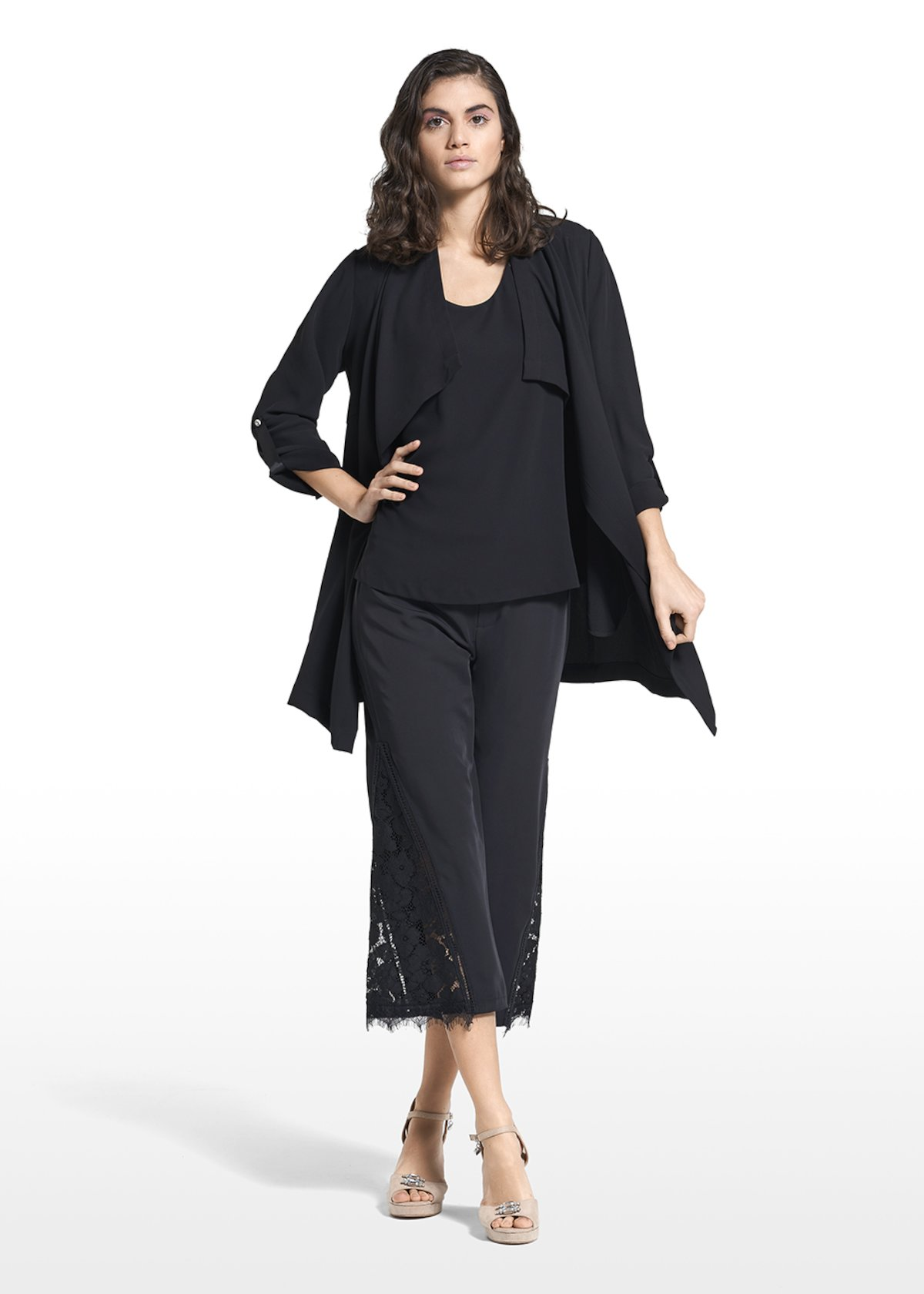 Coat Claudio with crystal button and flower brooch - Black - Woman