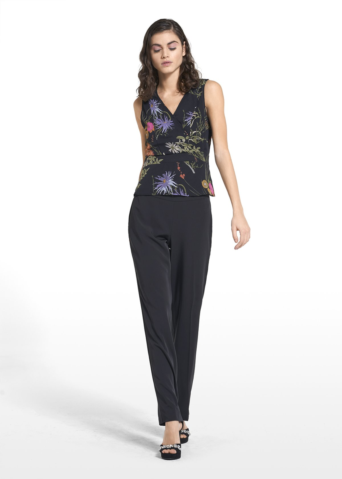 Wide-leg pants Pedro with side zipper - Black - Woman