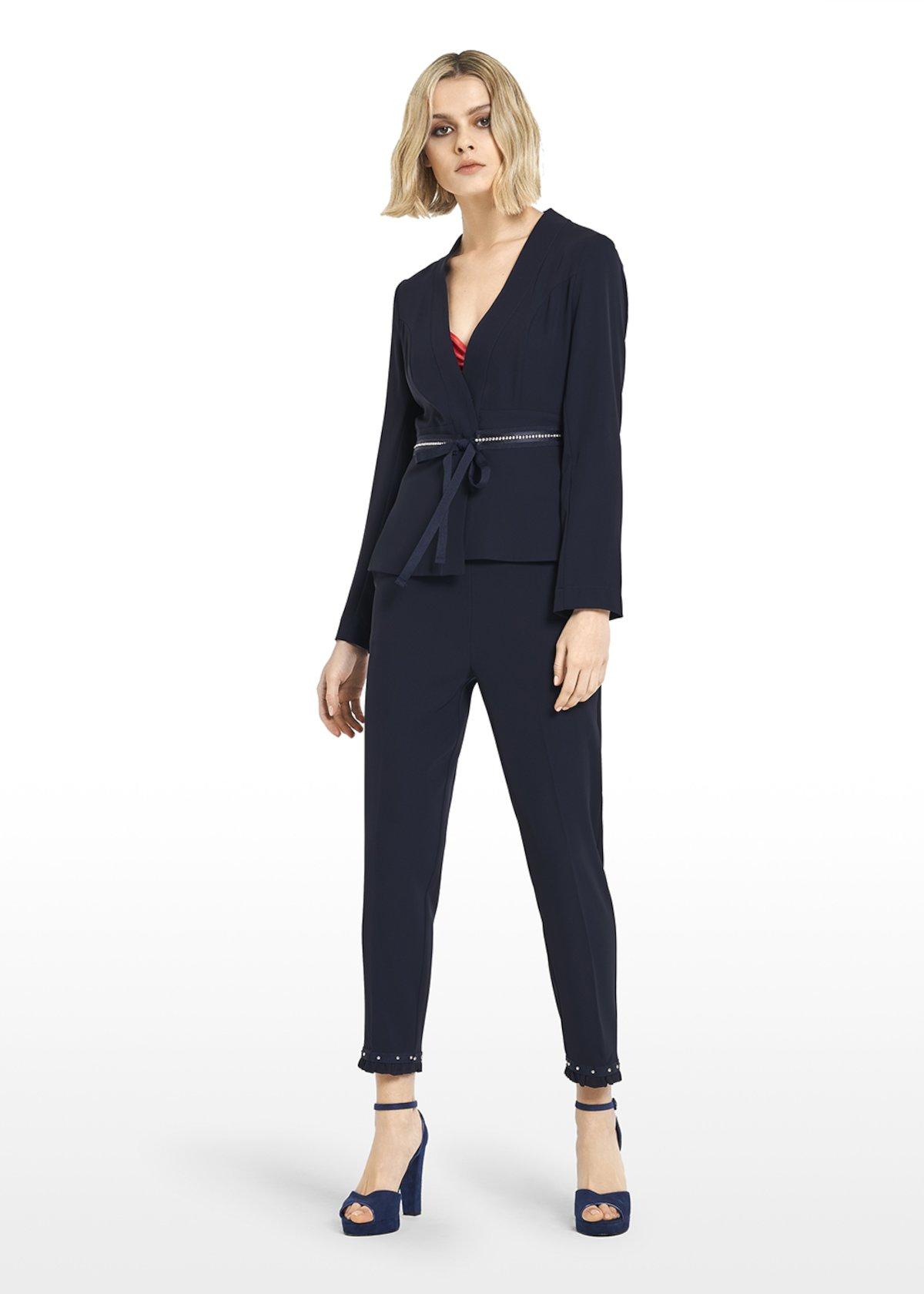 Gilda jacket cadi fabric with removable belt - Medium Blue - Woman