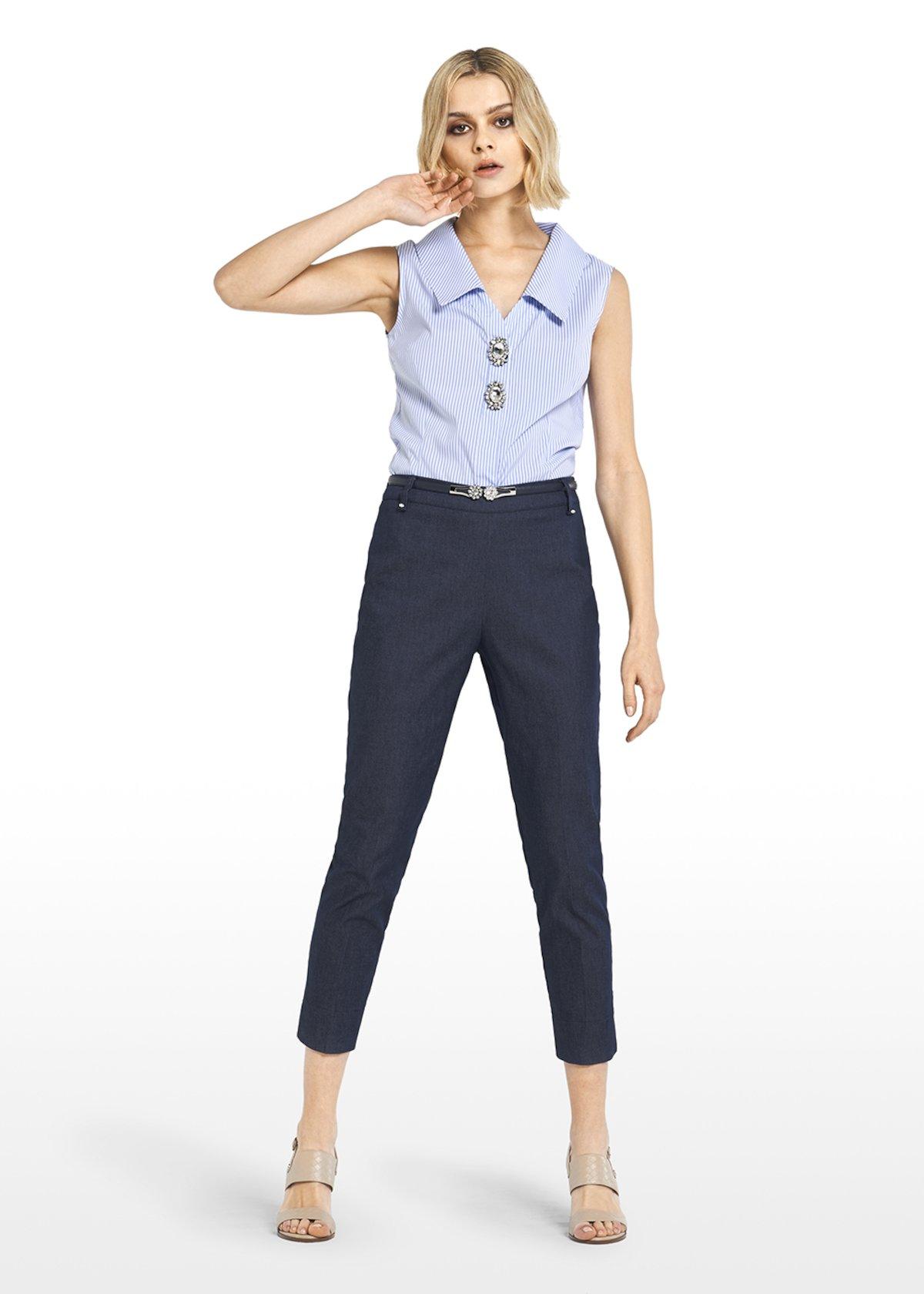Preston denim Capri trousers with rhinestone details - Blue - Woman