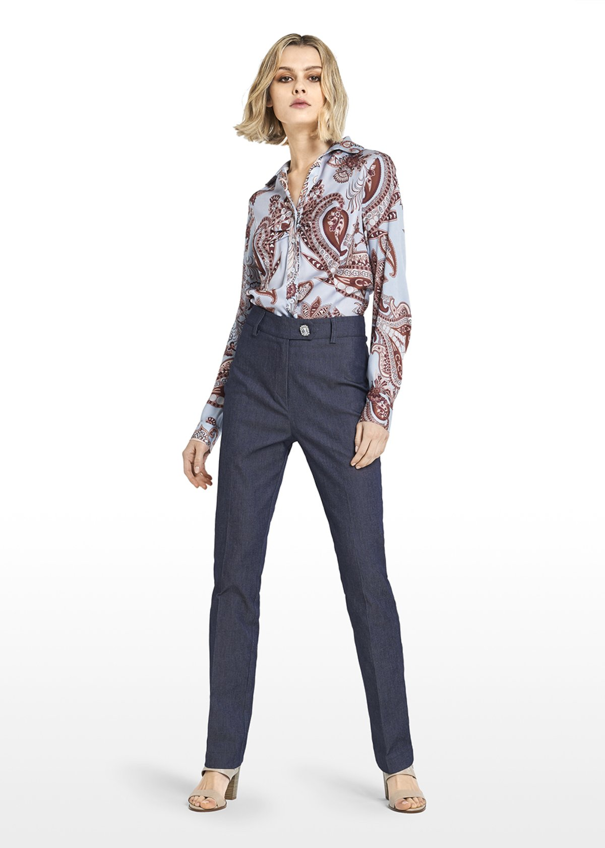 Polio denim trousers with loops and rhinestones on the front - Blue - Woman