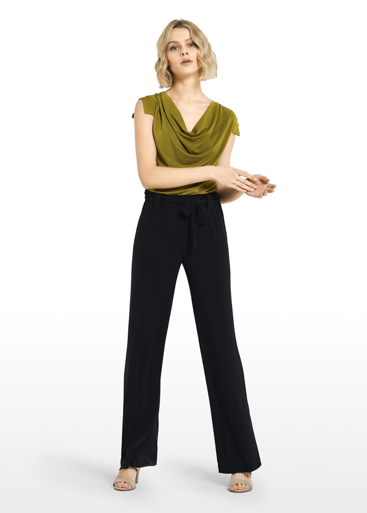 Pincher jersey trousers with sash - Black - Woman