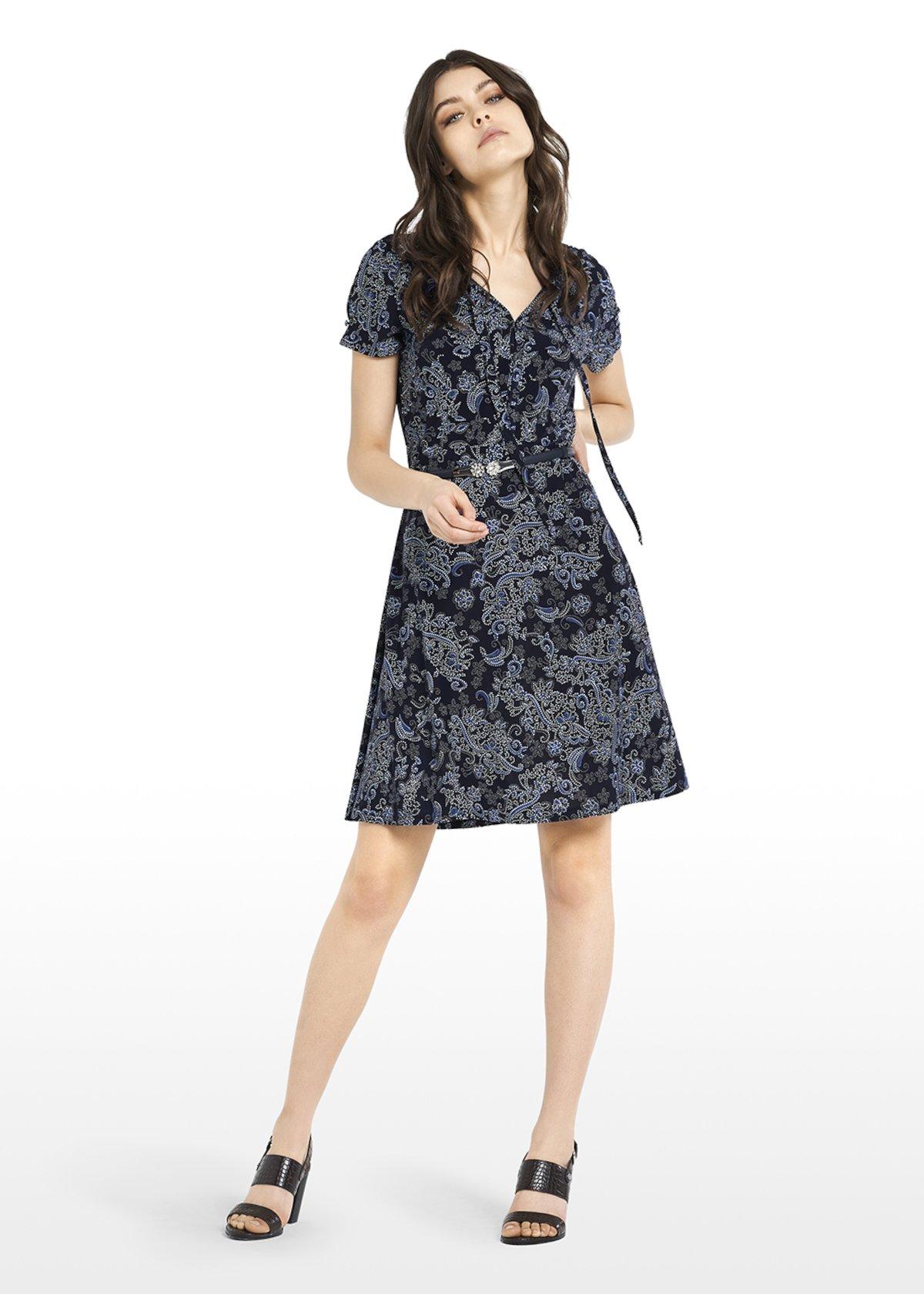 Jersey Afry dress Paisley pattern with bow - Blue / Avion Fantasia - Woman