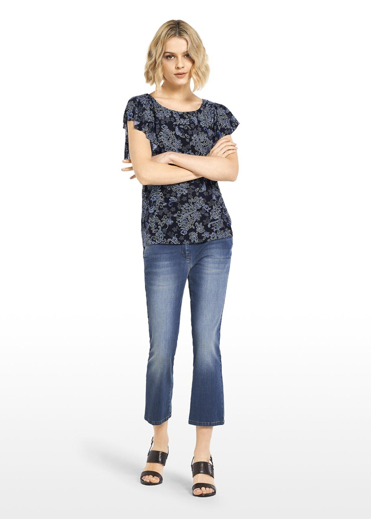 Safry paisley print jersey t-shirt - Blue / Avion Fantasia - Woman