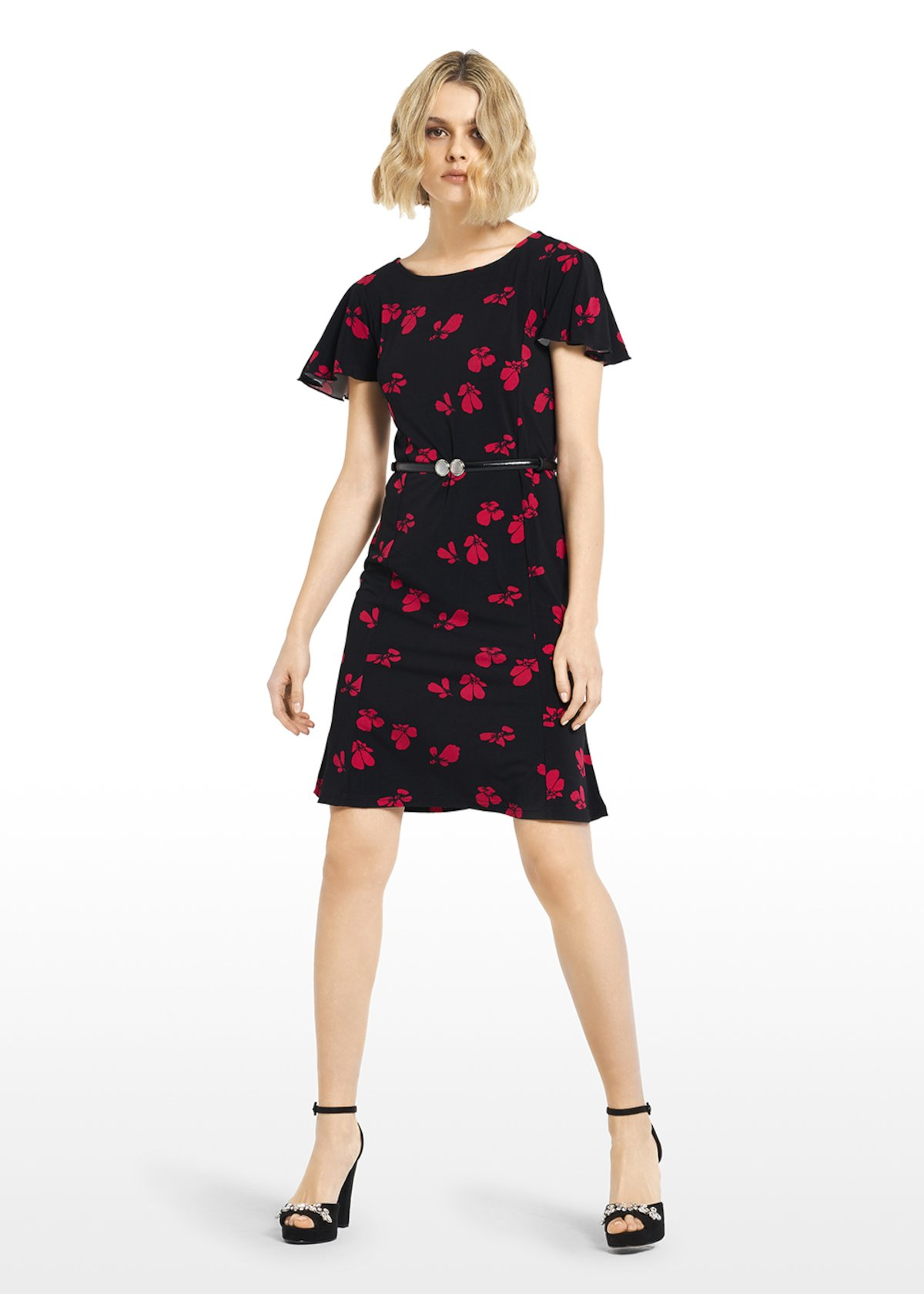 Alek jersey dress micro-flowers pattern with boat neckline - Black\ Tulipano\ Fantasia - Woman