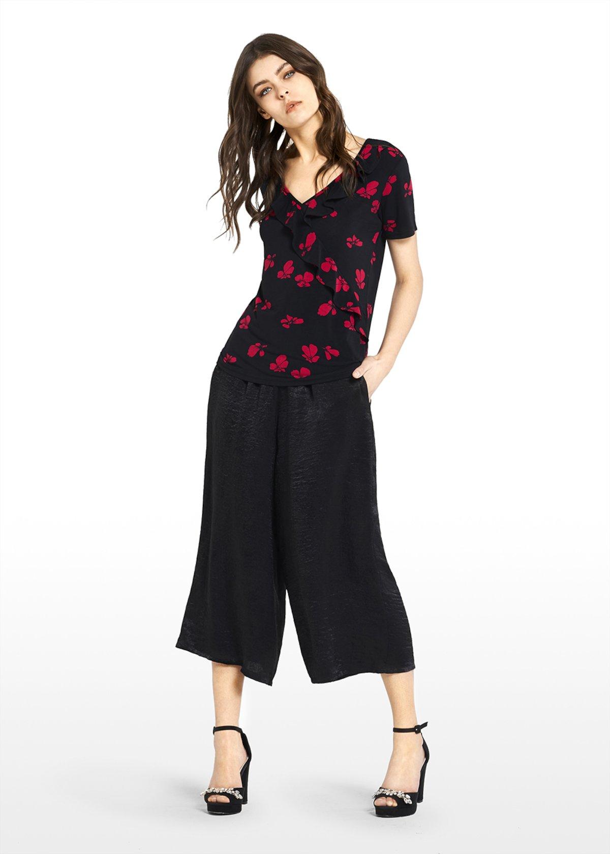 T-shirt Salek in jersey micro-flowers print - Black\ Tulipano\ Fantasia - Donna