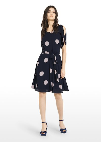 Alis dress with boat neckline and macro polka dots print