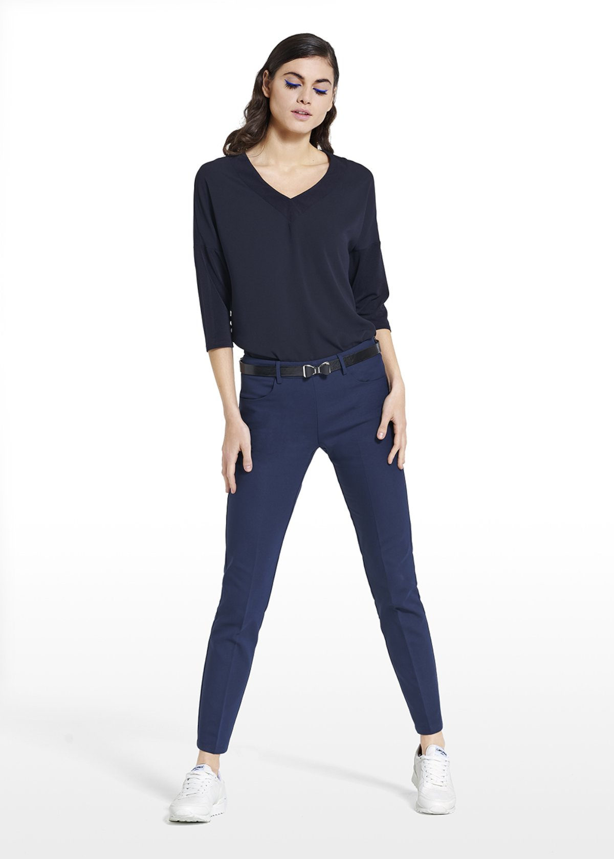 T-shirt Shyla with 7/8 sleeves and V-neckline - Blue Navy - Woman