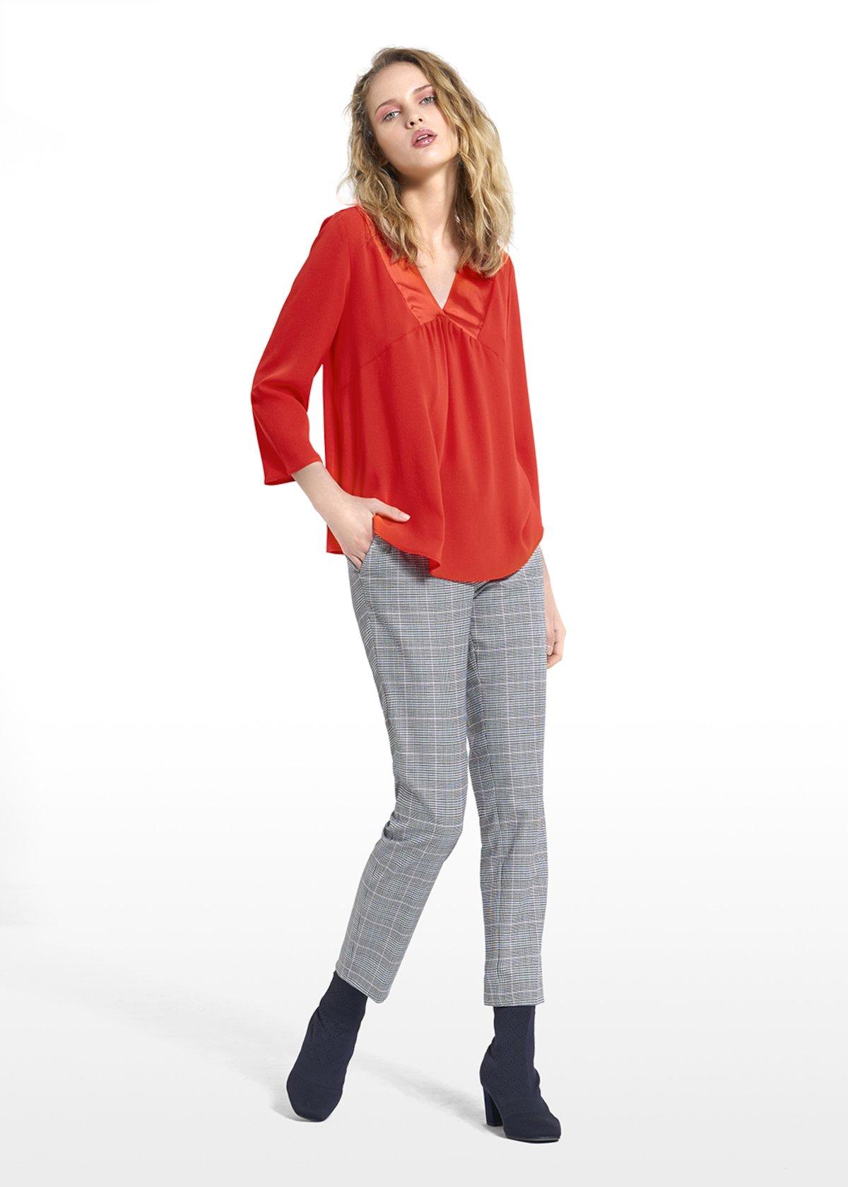 T-shirt Sofia con maniche a 3/4 e scollo a V con arriccio - Mandarino - Donna