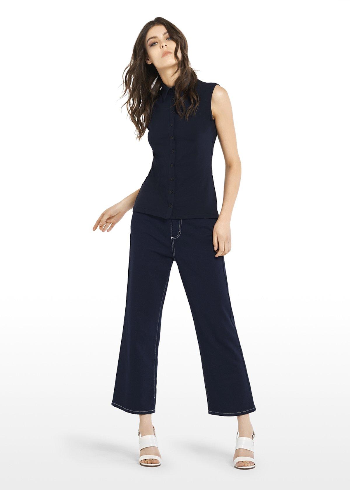 Cassandra shirt with collar - Blue - Woman