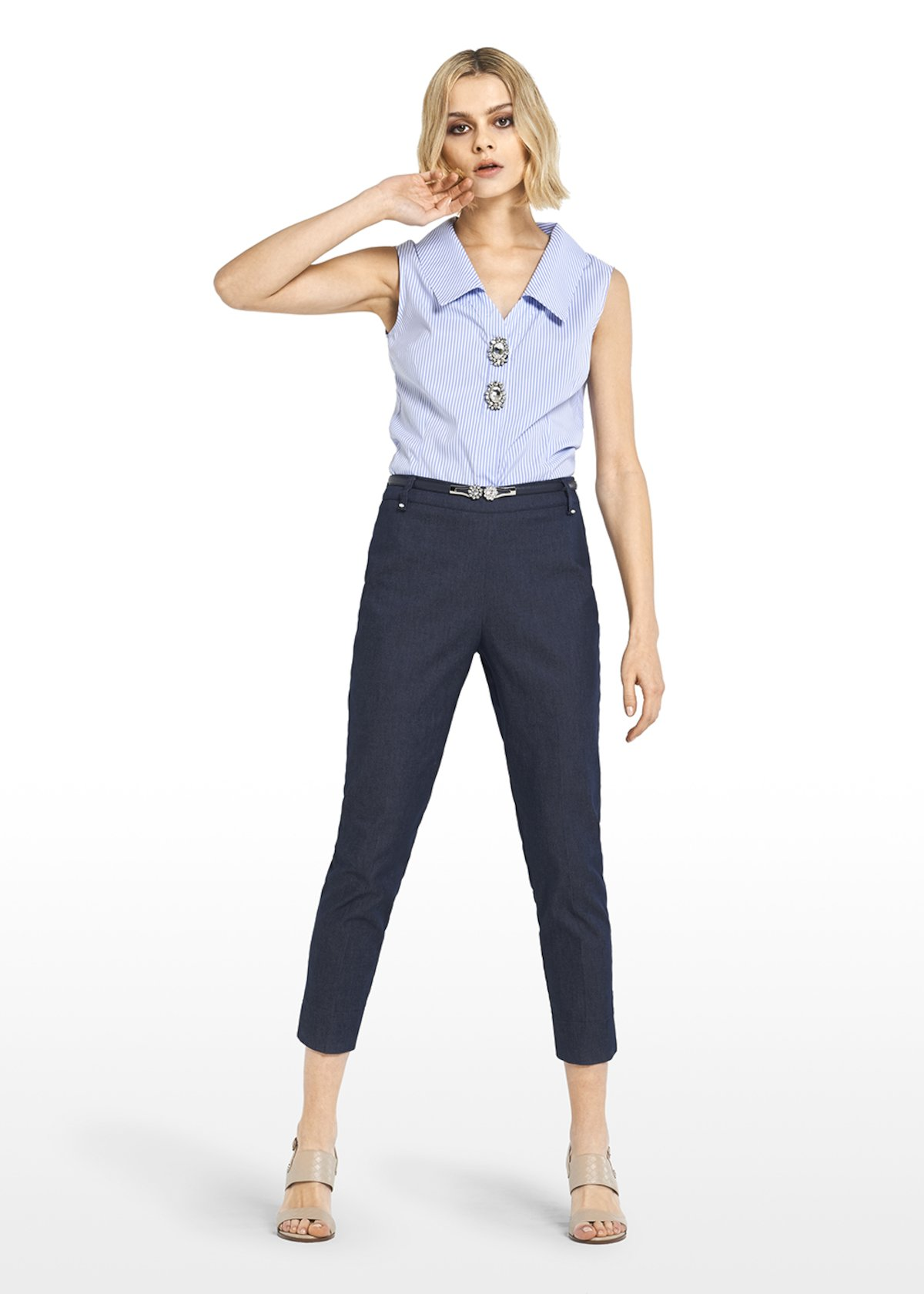 Clorinda shirt with jewel buttons - White / Blue Stripes - Woman