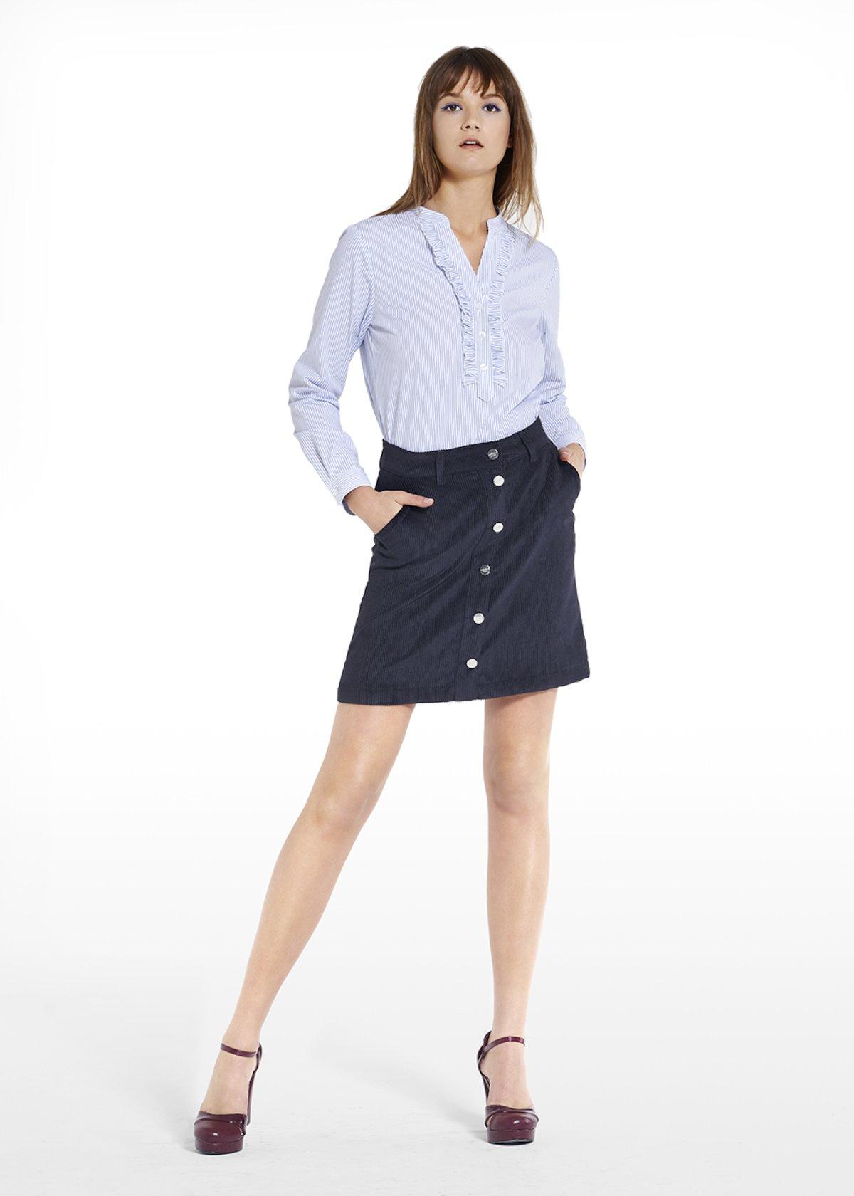 Camicia Carlotta stripes fantasy con rouches al fintone - White / Linen Stripes - Donna - Immagine categoria