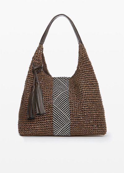 Straw Hobo Bag Blonde with ethno decorations