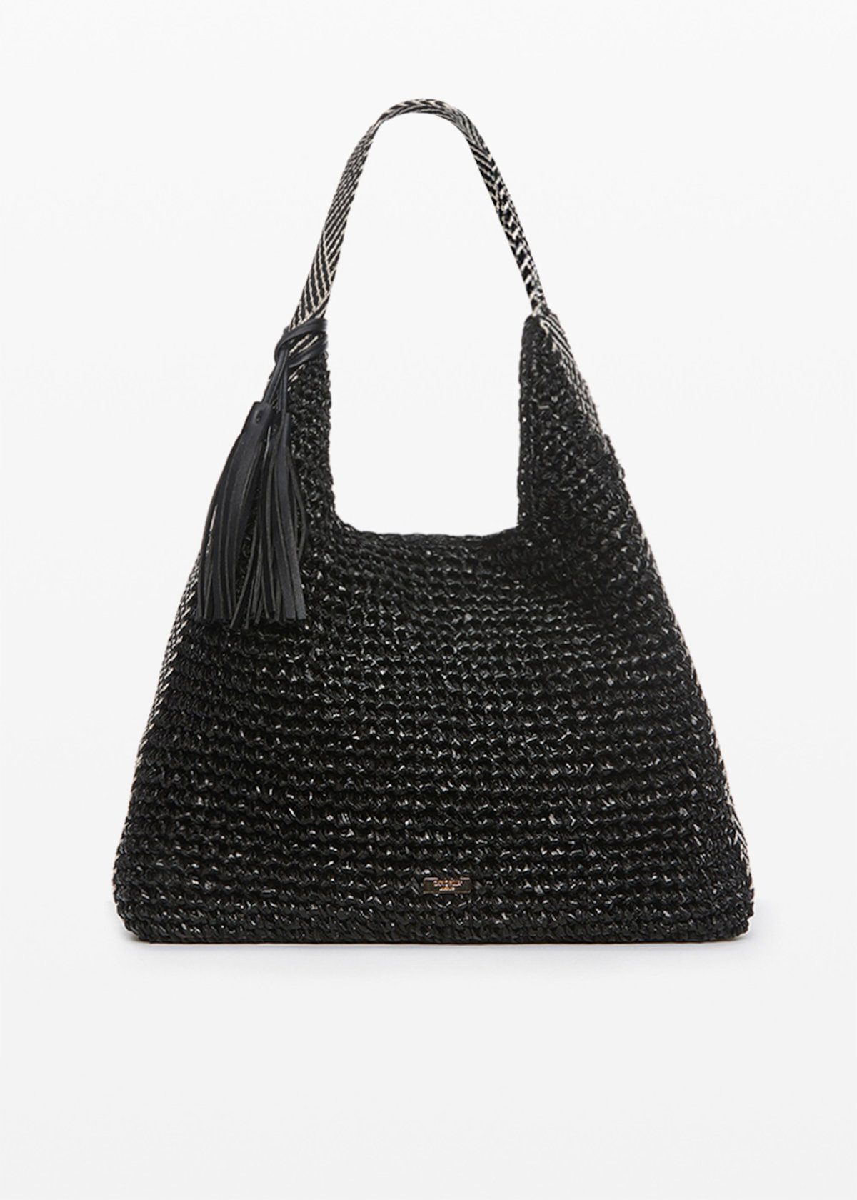 Hobo bag Blondys con decoro intreccio - Black - Donna - Immagine categoria