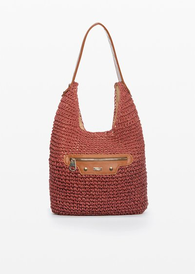 Bicolor Woven Straw Hobo Bag Broken