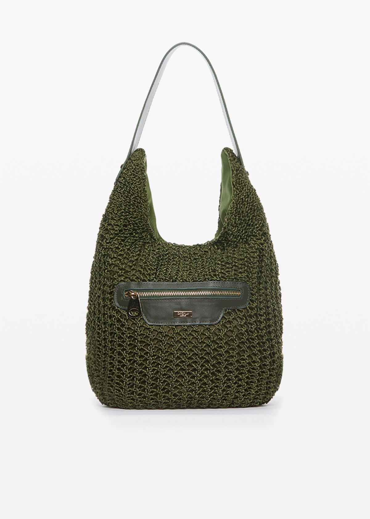 Hobo bag Brokes intertwined with inserts and pocket in eco-leather - Cactus - Woman