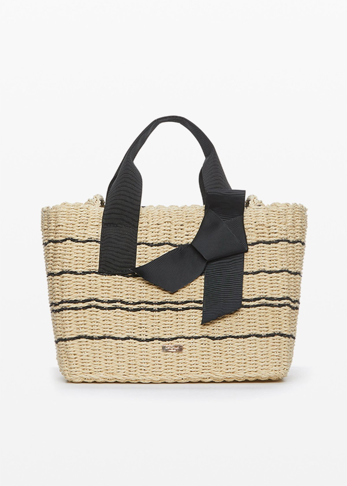 Straw Bag Badly with ribbon handles - Light Beige / Black - Woman