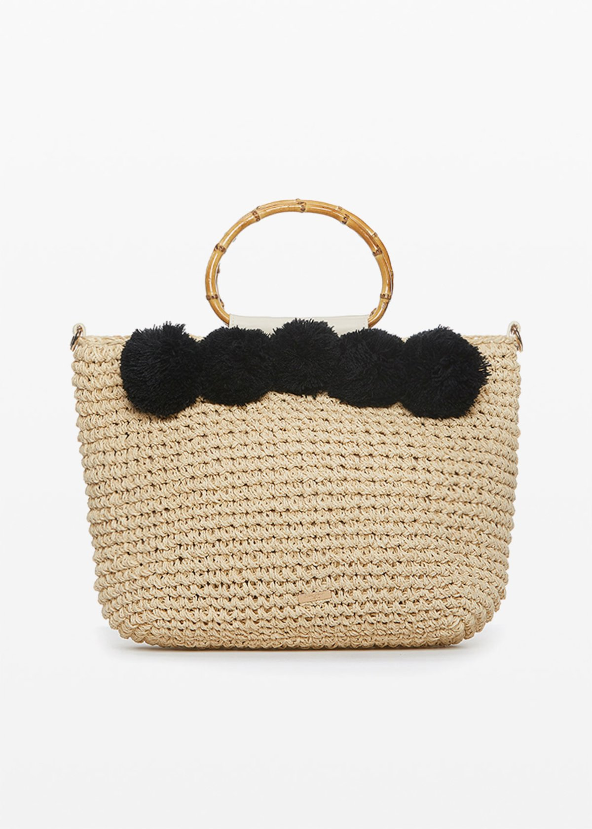 Straw Bag Benje with pompom decoration - Light Beige / Black - Woman